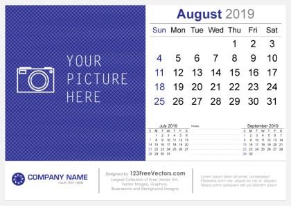 August 2019 Desk Calendar