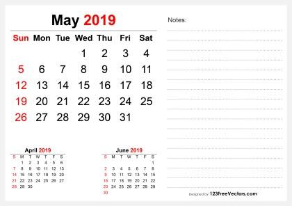 2019 May Desk Calendar Design