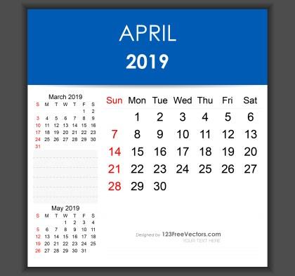 Editable April 2019 Calendar Template