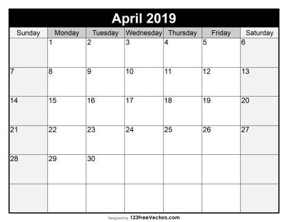 Blank April Calendar 2019