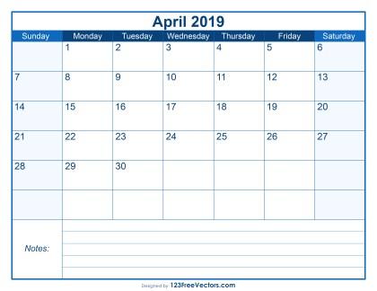 Blank Printable April Calendar 2019