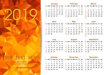 Vector Orange Polygon 2019 Calendar