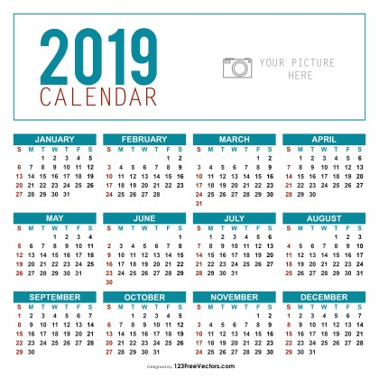 Yearly Calendar Template 2019