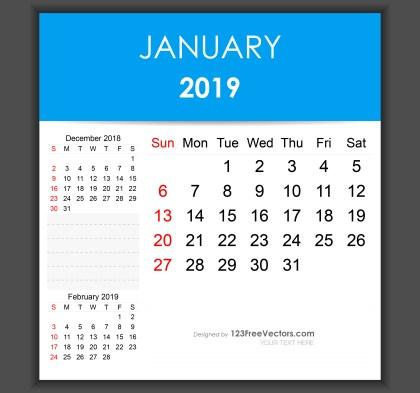 Editable January 2019 Calendar Template