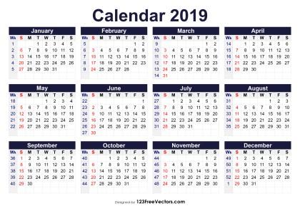 Printable 2019 Calendar with Week Numbers