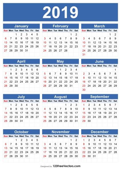 Free 2019 Calendar Template