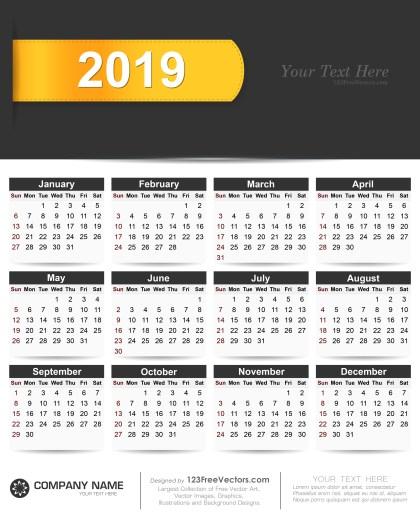 2019 Calendar Vector Free Download