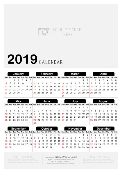 Free Printable Yearly Calendar 2019