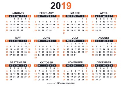 2019 Free Printable Calendar Templates