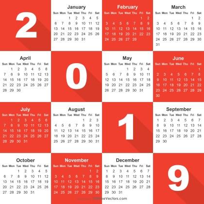 2019 Calendar Ai File
