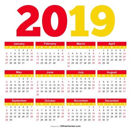 Printable Calendar 2019 Pdf