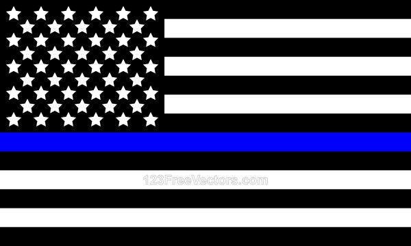 Black And White American Flag With Blue Stripe