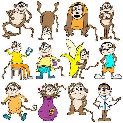 Cartoon Monkeys Vector and Photoshop Brush Pack-01