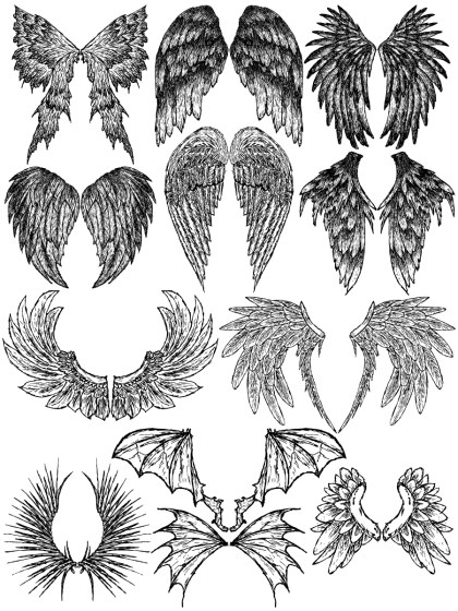 Hand Drawn Wings Vector and Photoshop Brush Pack-03