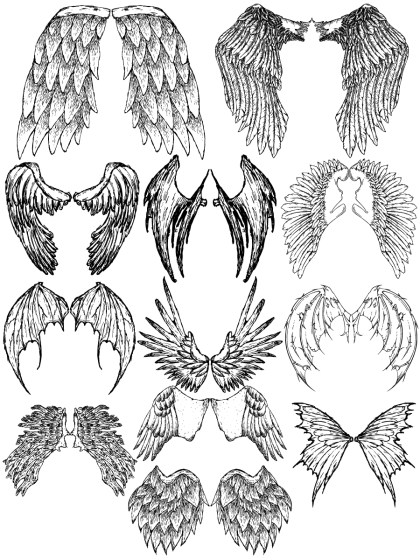 Hand Drawn Wings Vector and Photoshop Brush Pack-07