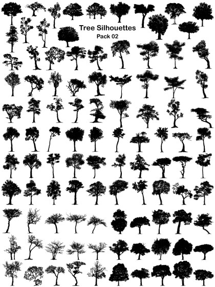 Tree Silhouettes Vector and Photoshop Brush Pack-02