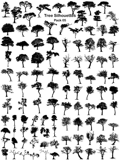 Tree Silhouettes Vector and Photoshop Brush Pack-05