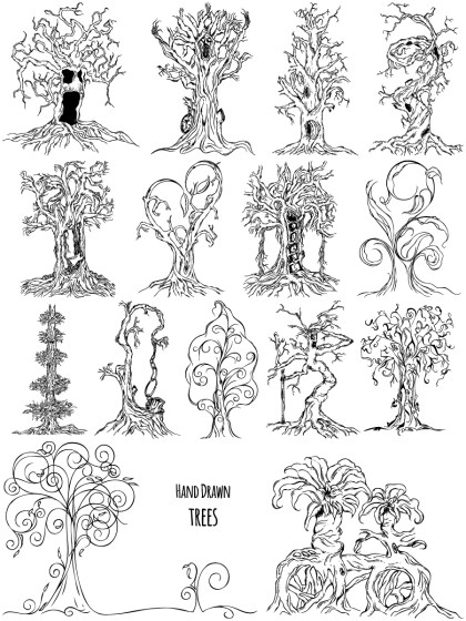 Hand Drawn Tree Vector and Photoshop Brush Pack-01