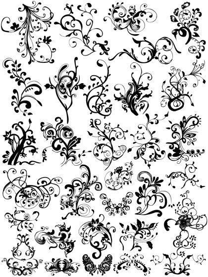 Hand Drawn Floral Ornaments Vector and Photoshop Brush Pack-01
