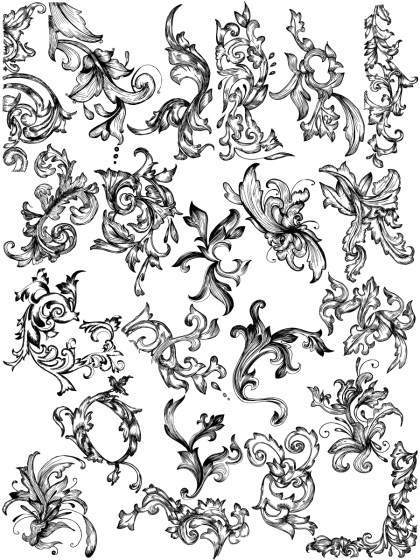 Hand Drawn Floral Vector and Photoshop Brush Pack-03