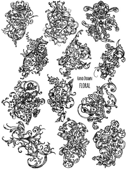Hand Drawn Floral Ornaments Vector Brush Pack-01