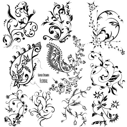 Hand Drawn Floral Vector and Photoshop Brushes Pack-01