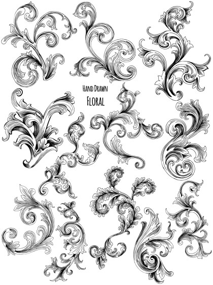 Hand Drawn Decorative Floral Vector and Photoshop Brush Pack-05