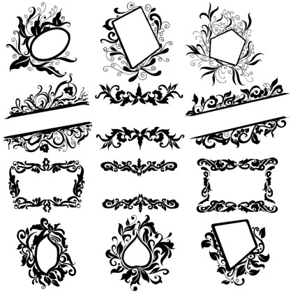 Hand Drawn Floral Frames Vector and Photoshop Brush Pack-01