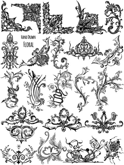 Hand Drawn Floral Ornaments Vector Brushes Pack-03