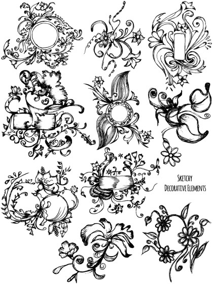 Sketchy Decorative Elements Vector and Photoshop Brush Pack-07