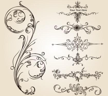 Calligraphic Design Elements Vector Photoshop Brushes 01