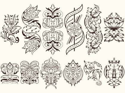 Ornate Decorative Elements Vector and Photoshop Brush Pack-01