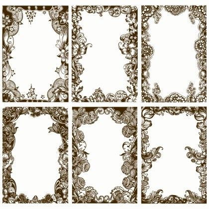 Vintage Decorative Floral Frames Vector Brush Pack-01