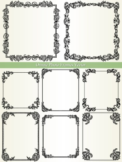 Ornate Photo Frames Vector and Photoshop Brush Pack-01