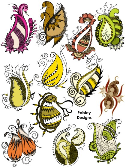 Hand Drawn Paisley Designs Vector and Photoshop Brush Pack-03
