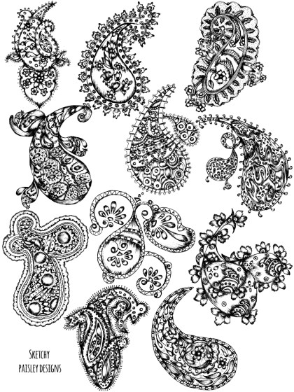 Hand Drawn Sketch Paisley Vector and Photoshop Brush Pack-01