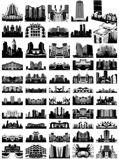 Building Silhouettes Vector and Photoshop Brush Pack-01