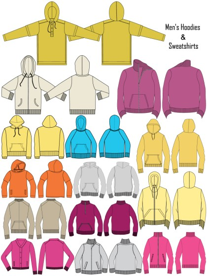 Men's Hoodies & Sweatshirts Template Vector and PSD Pack-01
