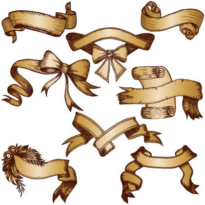 Hand Drawn Ribbon Banners Vector and Photoshop Brush Pack-02