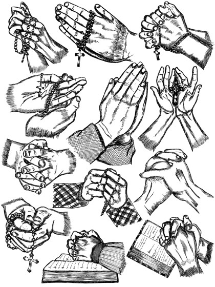 Hand Drawn Praying Hands Vector and Photoshop Brush Pack-01