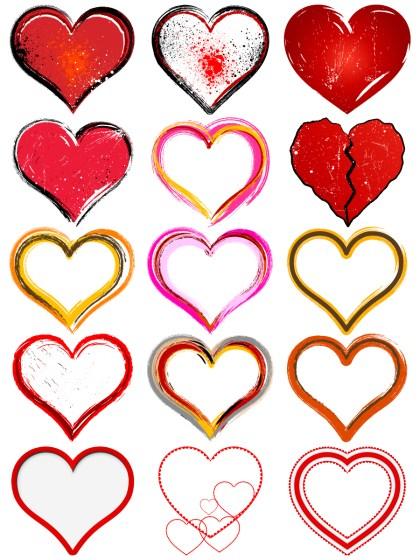 Grunge Heart Vector Pack