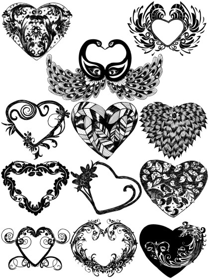 Hand Drawn Heart Vector and Photoshop Brush Pack-02