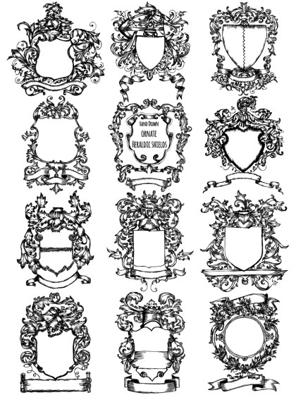 Hand Drawn Ornate Heraldic Shield Vector and Brush Pack-02