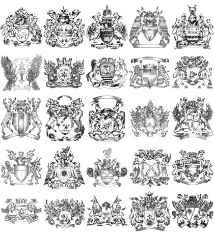 Hand Drawn Sketch Heraldic Coat of Arms Vector and Brush Pack-03