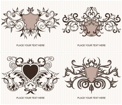 Ornate Shield Vector and Photoshop Brushes Set 01