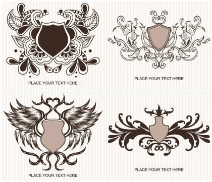 Ornate Shield Vector and Photoshop Brushes Set 02