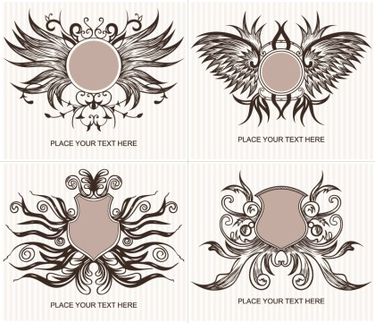Ornate Shield Vector and Photoshop Brushes Set 03