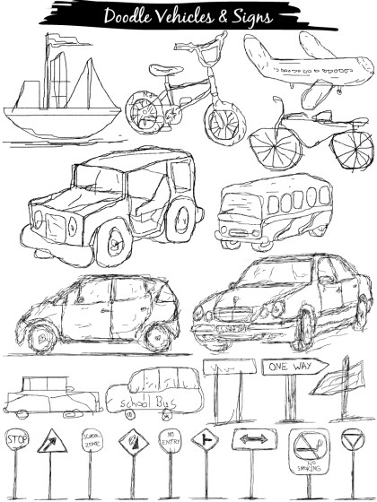 Doodle Transport Vehicles, Traffic Sign Posts Vector and Brushes Pack-01