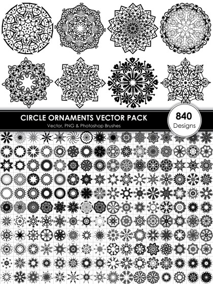 Circle Ornaments Vector and Photoshop Brush Pack-01