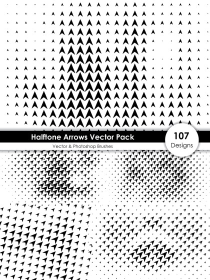 Halftone Arrow Shape Pattern Vector and Photoshop Brush Pack-01